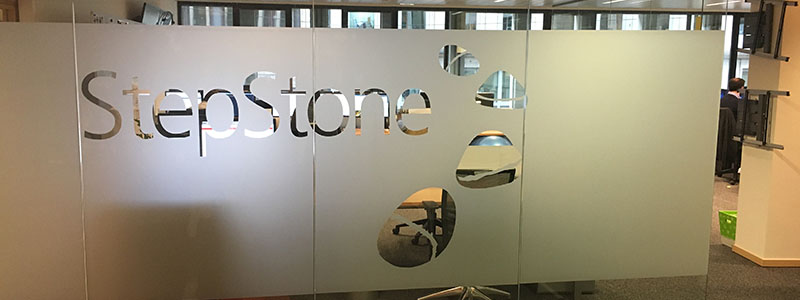 Step Stone Office Dusted films with Logo